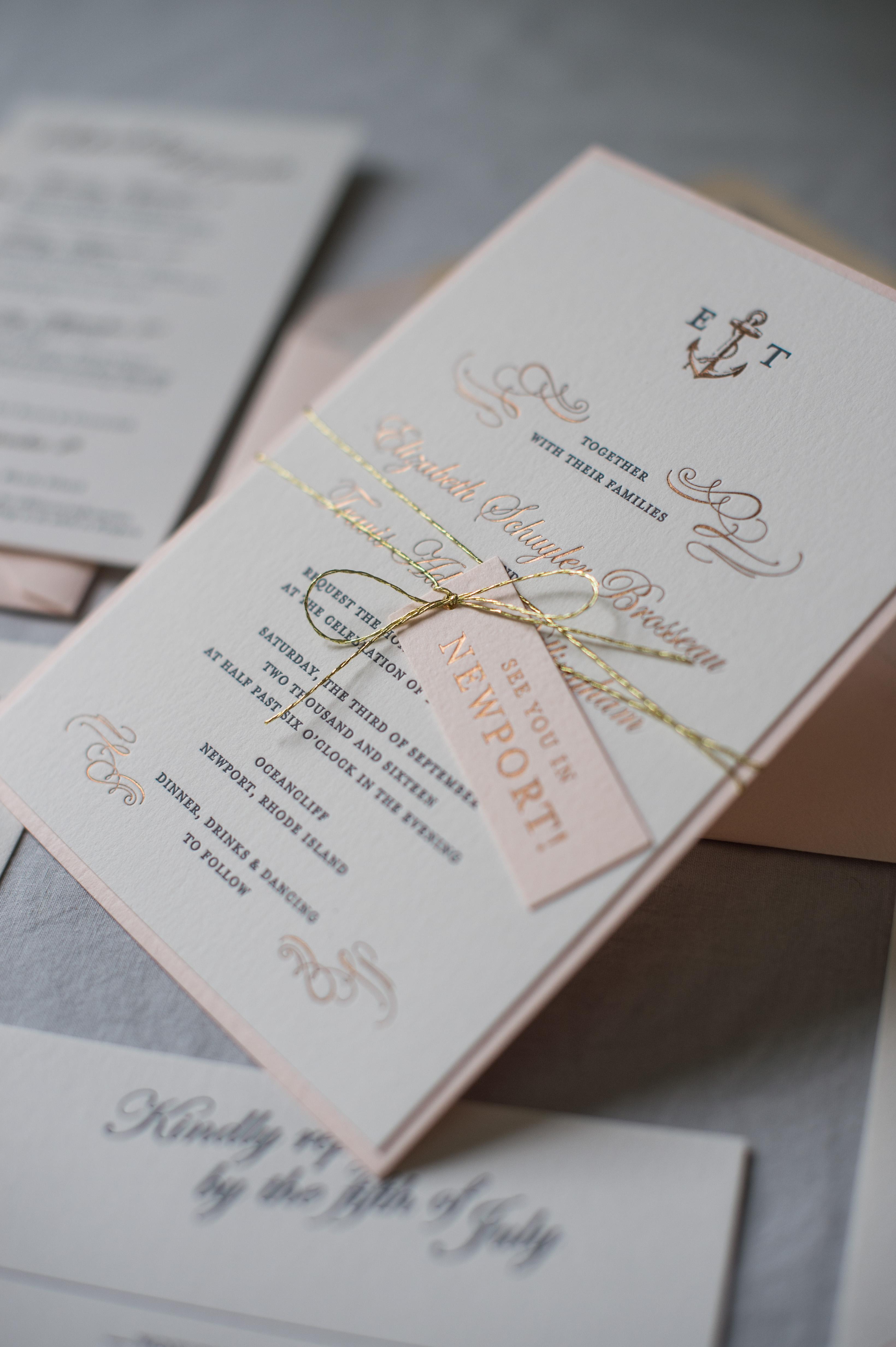 Romantic Copper & Blush Nautical Invitations